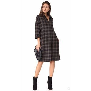 NWT Vince Plaid Easy Pullover Dress Military Green